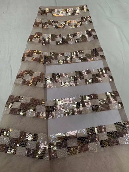 African mesh lace sequined fabric embroidery 2020 high quality French lace fabric Nigerian wedding lace fabric J3653