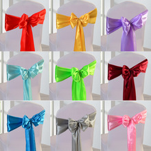 25pcs/lot Wholesale Silk Satin Ribbon Bow Chair Sashes For Banquet Chair Wedding Party Decoration Chair Band