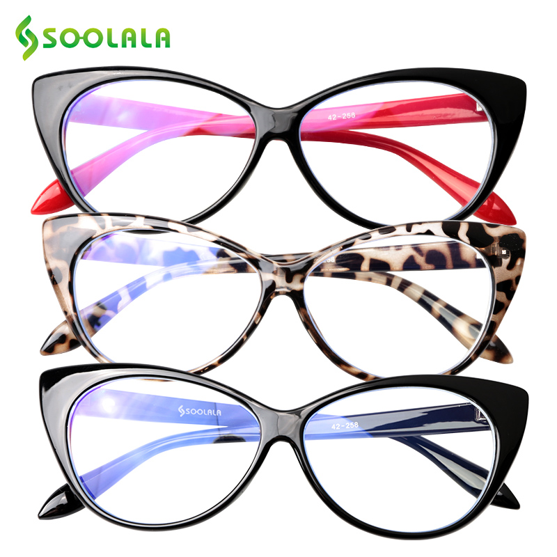 SOOLALA Cat Eye Anti Blue Light Reading Glasses Women Anti Glare Presbyopic Computer Eyeglasses Frame Sunglasses Reading Glasses