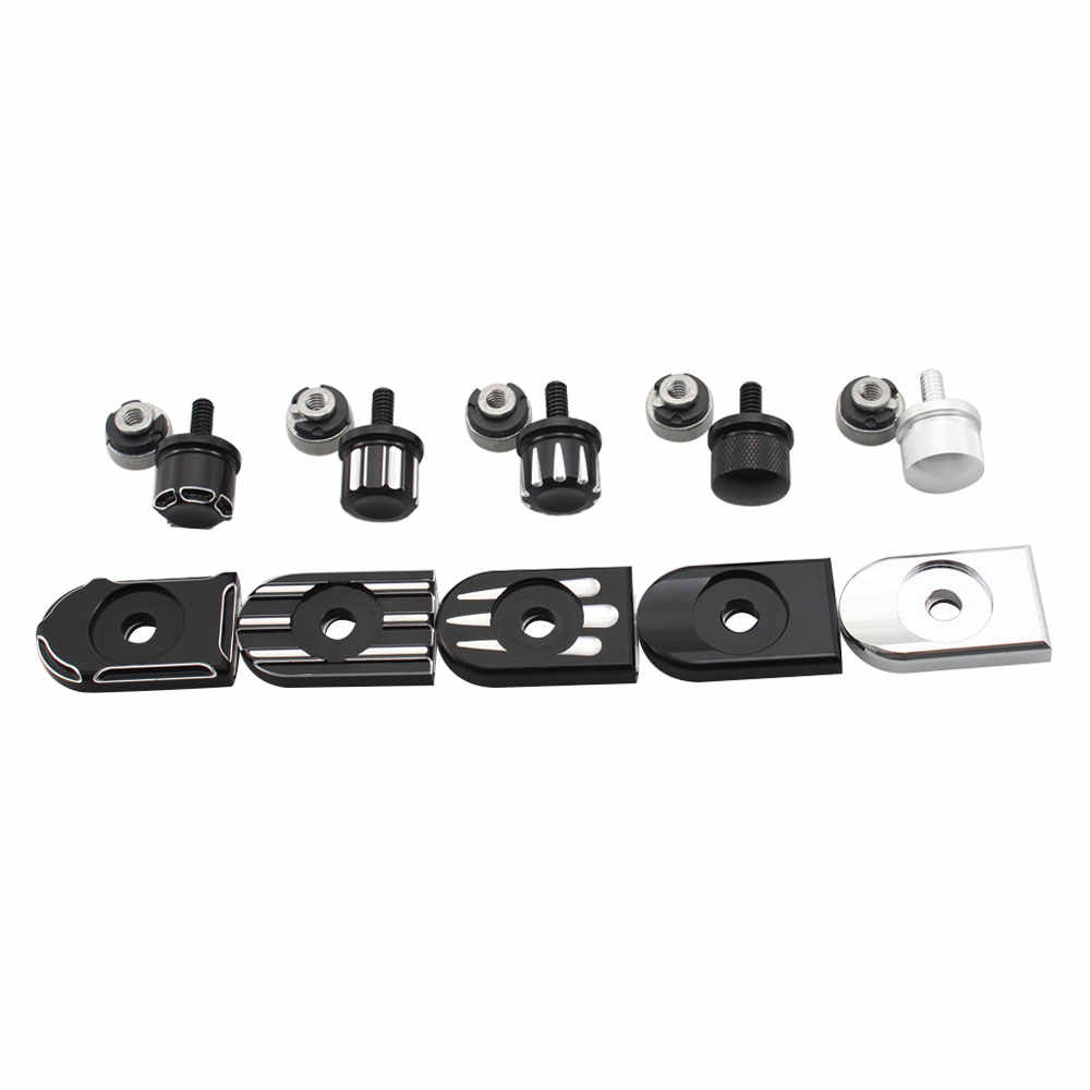 Billet Aluminum Rear Fender Seat Bolt Screw Nut Tab Cover For Harley XL Dyna Softail Touring Models 96-Later Universal Parts