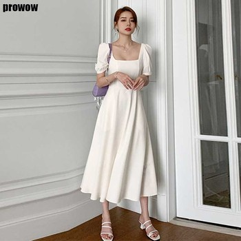 French white Ladies summer dress Korean elegant Party holiday office dresses 2021 Womens new fashion Slim midi