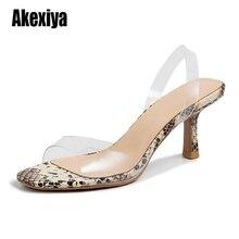 2020 PVC Snake pattern Platform Fine heel Sandals Woman Sexy