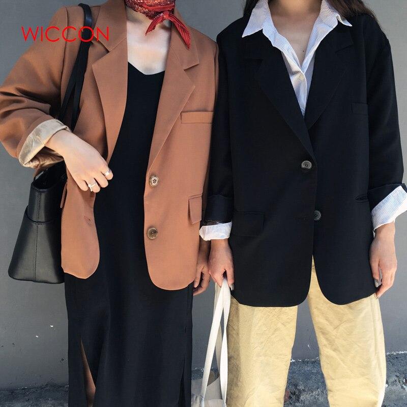 Vintage Full Sleeve Single Breasted Women Blazer Casual Female Jacket Suit Spring Loose Workwear Outerwear 2020