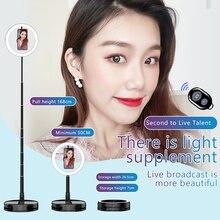цена на MAMEN Foldable LED Selfie Ring Light Camera Studio Photography Lighting Video For Youtube Live Streaming Fill Ring Light Lamp