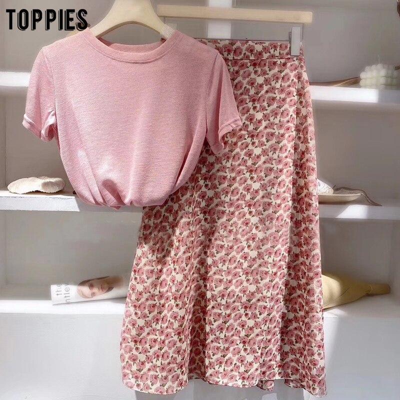 Toppies/Летний милый розовый комплект в Корейском стиле; Модный комплект из двух предметов; Повседневная тонкая футболка из хлопка и льна; Юбки с высокой талией|Спортивные костюмы|   | АлиЭкспресс