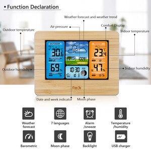 Image 3 - FanJu FJ3373 קיר שולחן שעון מעורר תחנת מזג דיגיטלי מדחום מדדי לחות חיישן אלחוטי תחזית טמפרטורת שעון