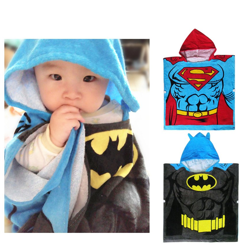 Export Children Hooded Superman Batman Pullover Bath Towel Bath Mantle Swimming Children Towel