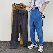 Spring Corduroy Pants Men's Fashion Solid Color Retro Casual