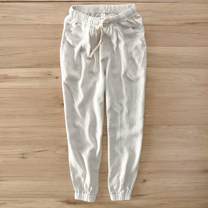 New Style Japanese-style Men's Casual Pants Elastic Linen Pants Men's 0613