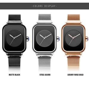Image 4 - Creative New Women Watches Quartz REBIRTH Square Magnetic Minimalist Ladies Wristwatch Rose Gold Luxury Band Reloj Mujer 2019