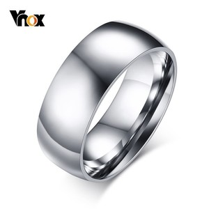 Vnox 8mm Basic Wedding Ring for Men Gold and Tone Stainless Steel US Size Male Jewelry