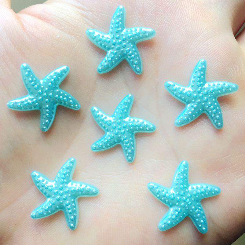 80pcs 18mm DIY Resin sky blue Flatback Starfish Star Mobile Phone Decoration wedding decoration A088