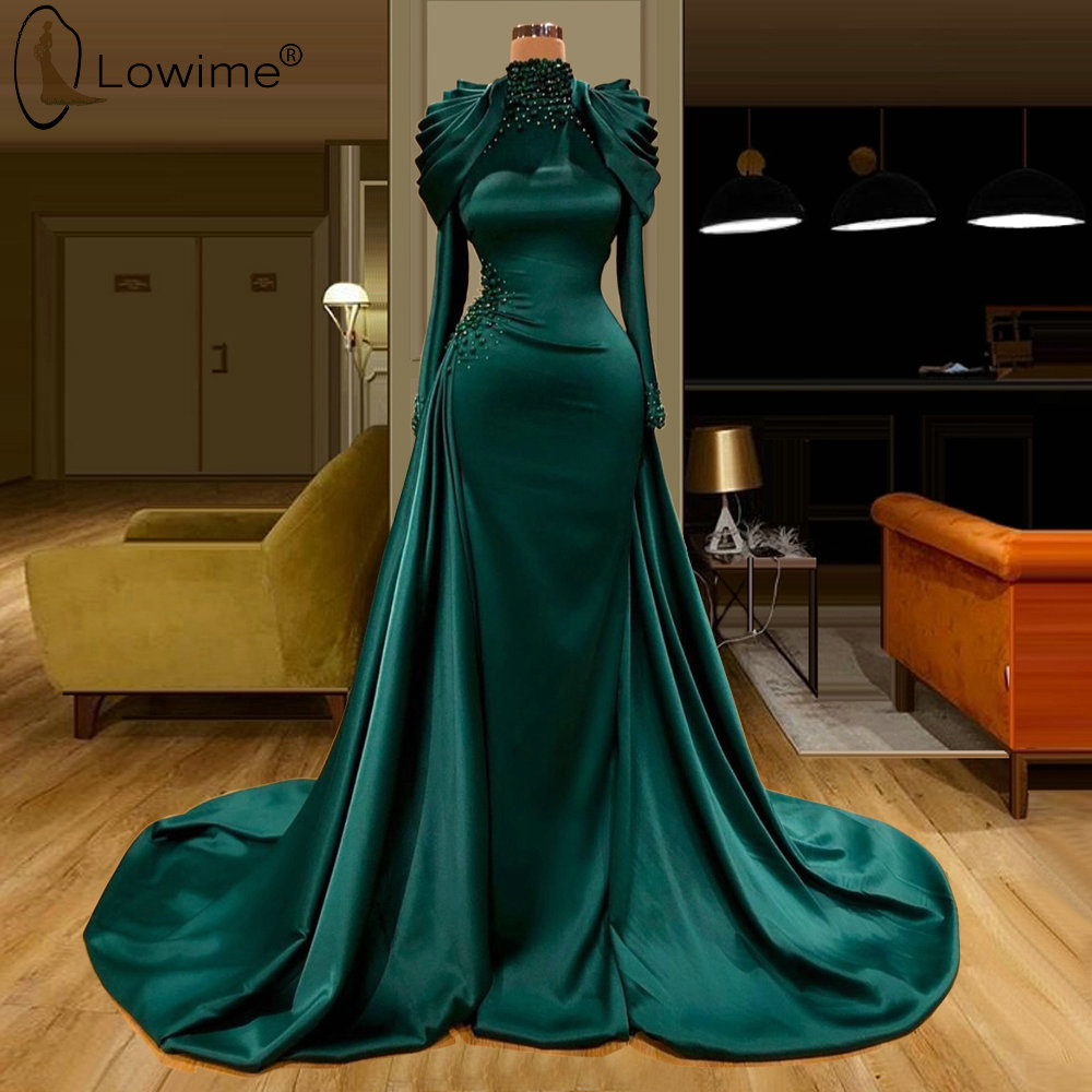 High Neck Long Sleeve Evening Dresses Beaded Middle East Dubai Robe De Soiree Prom Party Gowns