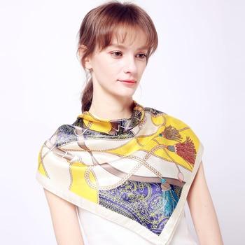 2019 Fashion Kerchief Silk Satin Neck Scarf For Women Print Hijab Scarfs Female 90*90cm Square Shawls and Wraps Scarves For Lady 10