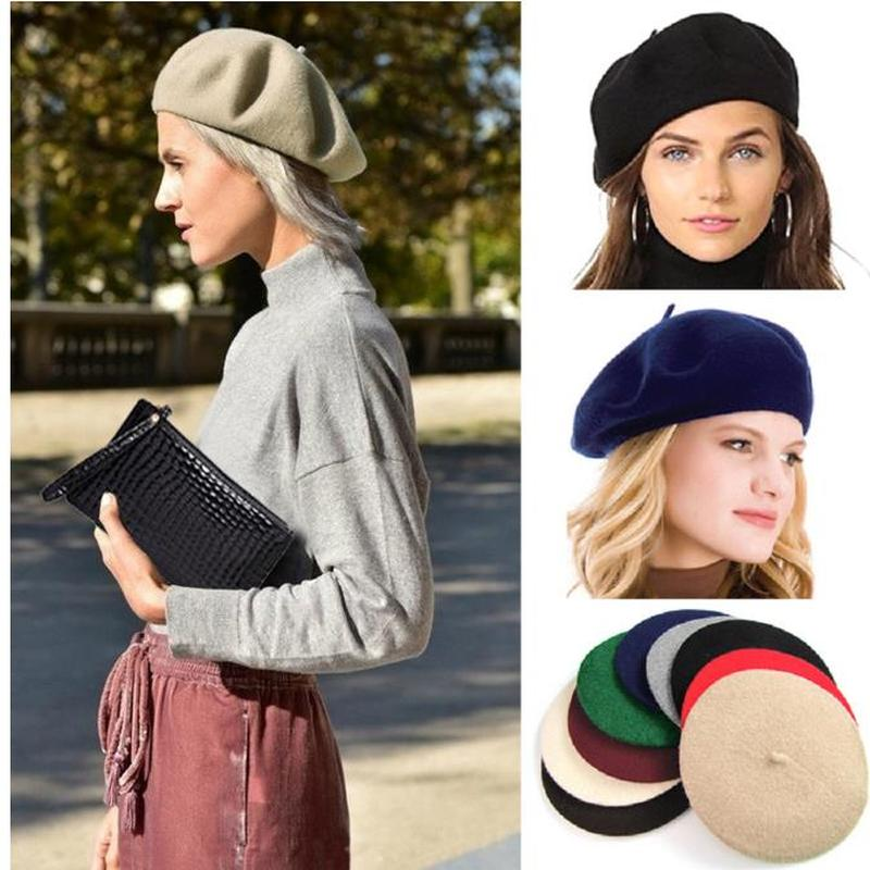 Fashion Wool Beret Hats Women Winter French Hat Girls Solid Color Autumn  Winter Beret Hat For Women Flat Cap Hat Felt Berets Women's Berets  -  AliExpress