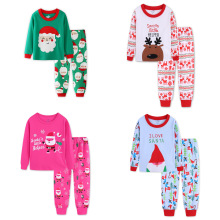 2018 Christmas New Children's Home Service Suit Santa Claus Pajamas Cotton  Europe Christmas Clothes T-shirt + Pants 2 Pieces claus offe europe entrapped