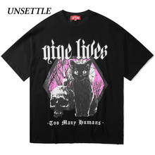 Unsettle 2020SS Harajuku T-shirts Zomer Mannen/Vrouwen Hip Hop Gothic Grappige Print Kat Tshirt Streetwear T-shirt Korte Mouw tee Top(China)
