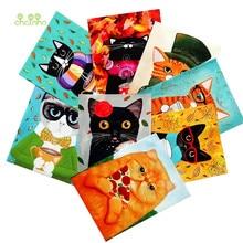Teñido a mano tejido 8 unids/lote gato tela de lona de algodón para DIY de coser acolchado monedero bolsa de cubierta de libro decoración Material 15x20cm