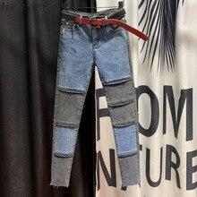 Европейские товары, обтягивающие джинсы с высокой талией для женщин, осень, новые индивидуальные цветные укороченные узкие брюки, джинсы