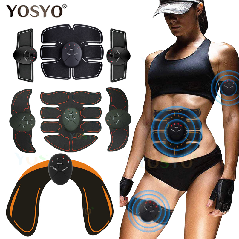 Smart EMS Muscle Trainer Electric Muscle Stimulator Wireless Buttocks Hip Abdominal ABS Stimulator Fitness Slimming Gel Massager