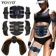 Estimulador elétrico inteligente de músculo ems, massageador fitness sem fio com gel para emagrecimento, para nádegas, quadril, estimulador abdominal
