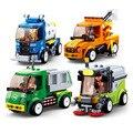 Городской строительный блок городской большой автомобиль городской мусоровоз легкий ремонт грузовик уборочная машина спринклер Кирпичи И...