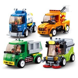 City Town Building Block City Great Vehicles Municipal Car Garbage Truck Light Repair Truck Road Sweeper Sprinkler Bricks Toy