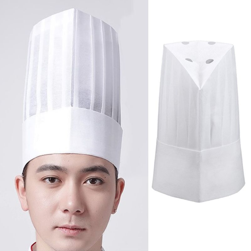 20Pcs Unisex Disposable White Non Woven Pleated Chef Tall Hat Cooking Round Cap 831A