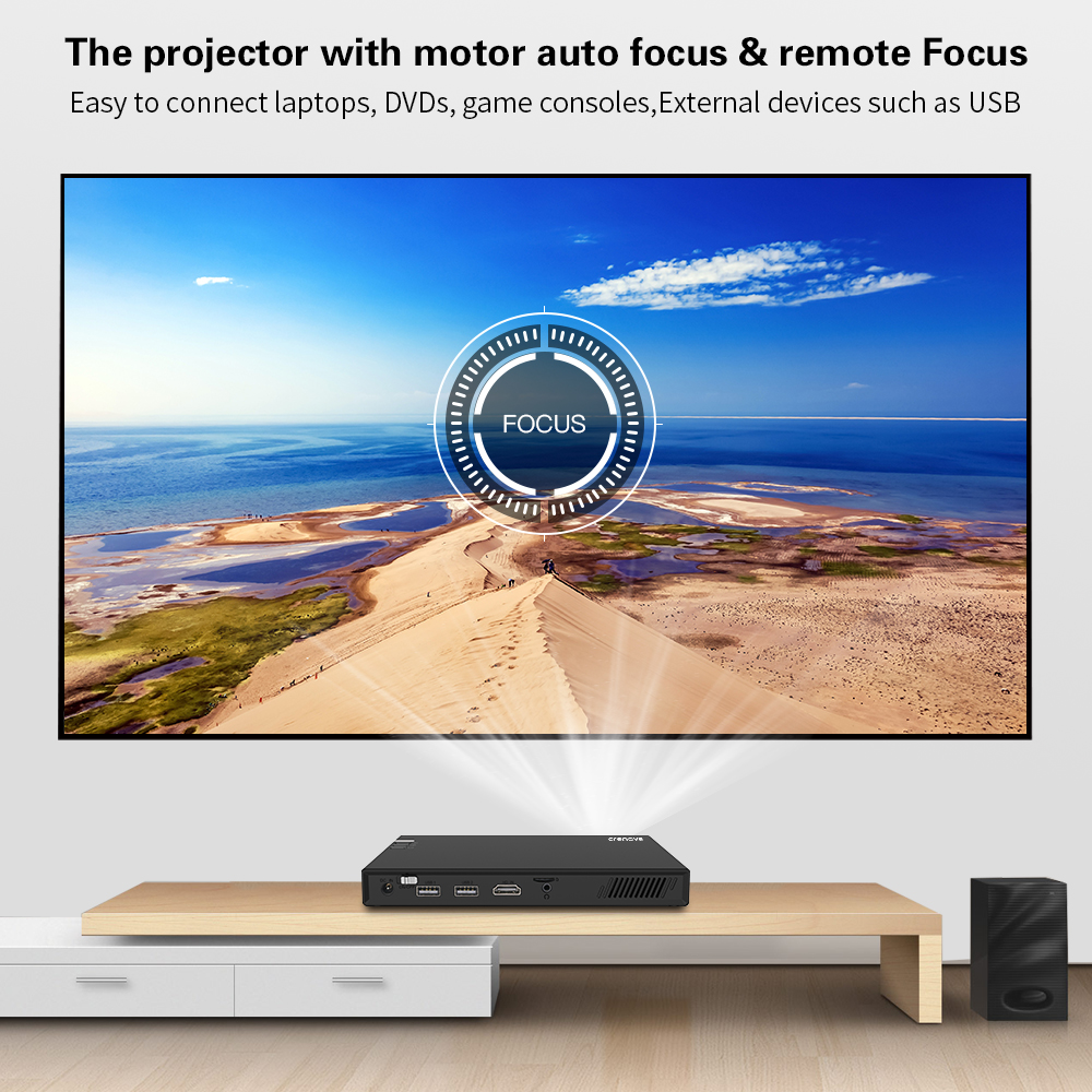 crenova 2019 newest mini projector with wifi bluetooth (optional 2g 16g) android projector