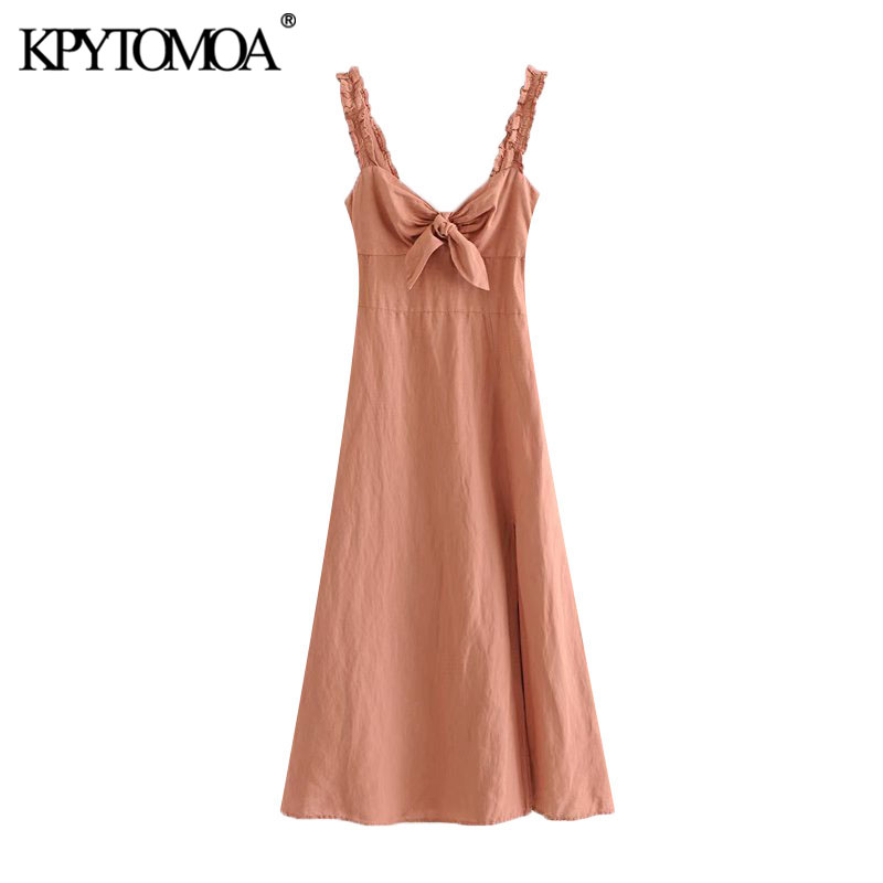 KPYTOMOA Women 2020 Chic Fashion With Bow Slit Linen Midi Dress Vintage Backless Elastic Side Zipper Straps Female Dresses Mujer
