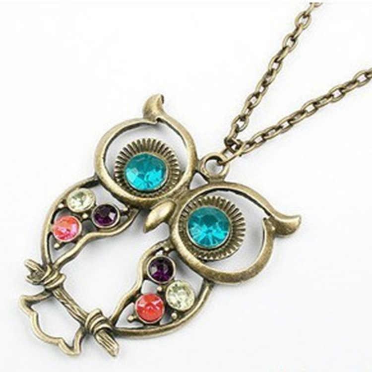 Stop koreański wersja biżuteria koreański wersja Retro kolor wiertła Hollow rzeźbione piękny sowa naszyjnik