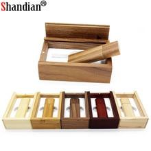 SHANDIAN free custom logo wooden usb flash drive with box pen drive 64gb 32gb 16gb 4gb U disk memory card pendrive personal gift