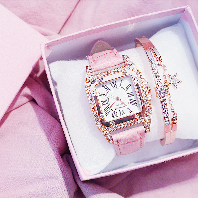 Women Diamond Watch Starry Square Dial Bracelet Watches Set Ladies Leather Band Quartz Wristwatch Female Clock Zegarek Damski 1