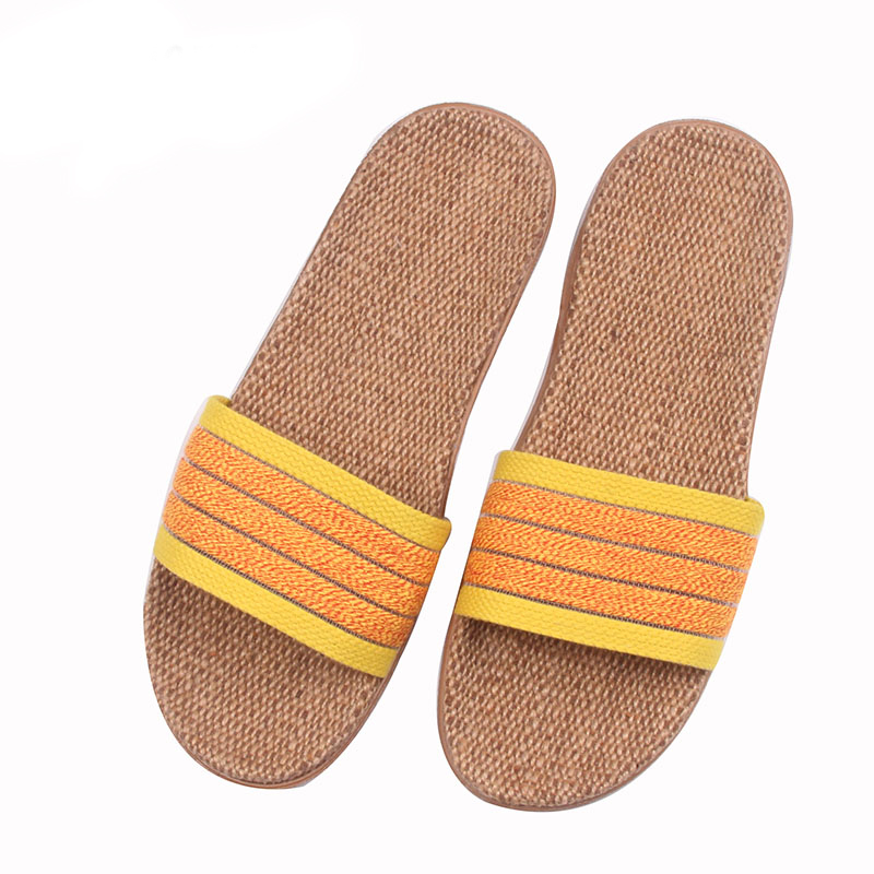 Cheap Glglgege Summer Women Linen Slippers New Color Stripe Belt Indoor Shoes Casual Home Open Toe Slippers Lovers Casual Flax Slides