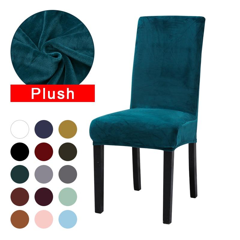 Chiovenni pelúcia grosso capa de cadeira lavável elástico inverno quente veludo cadeira protetor caso cozinha restaurante housse de chaise