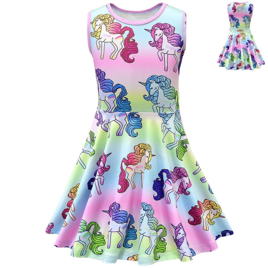 628 28 De Descuentorainbow Pony Niños Vestido Para Niñas Unicornio Fiesta Niño Navidad Disfraz Infantil Princesa Cumpleaños Vestidos Sin Mangas In
