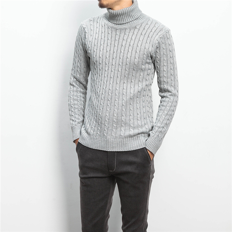 Winter Turtleneck Sweater Men Slim Warm Fashion Solid Color Casual Knit Pullover Man Wild Long Sleeve Sweater Male Clothes M-5XL