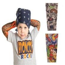 2 pcs Children Tattoo Sleeves Arm Cover Cartoon Print UV Sleeve Arms Sunscreen Breathable Ice Silk Summer Tatoo Sleeve for Kids