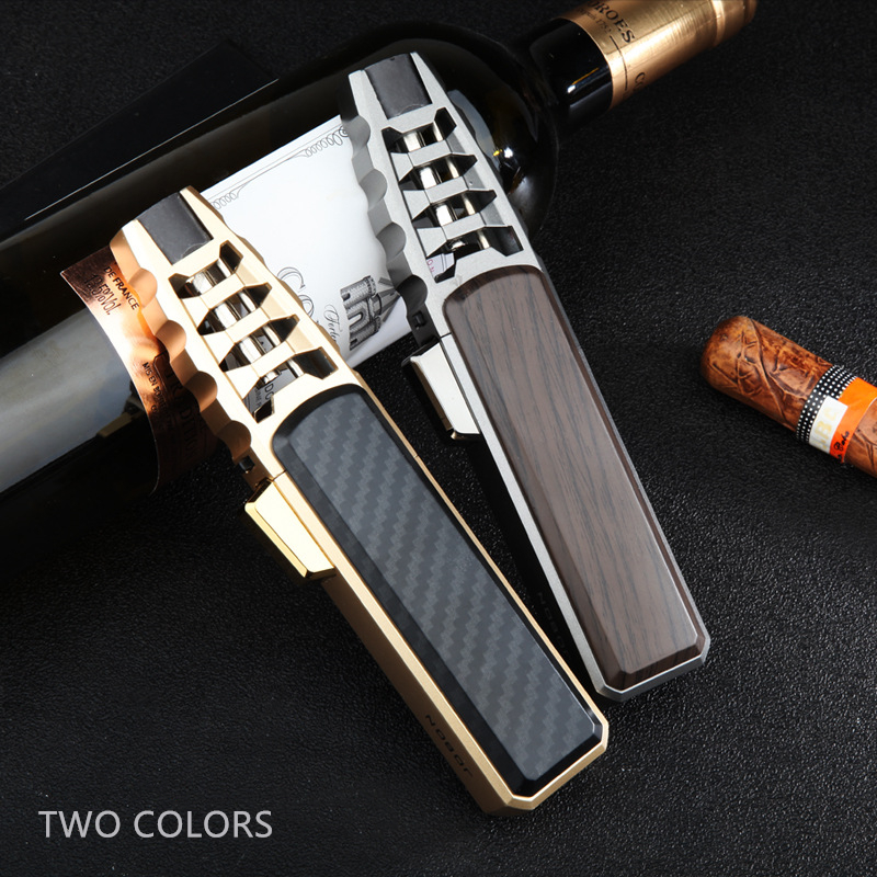Torch Cigar Lighter Turbo Lighter 1 Jet Butane Gas Cigarette Windproof Metal Pocket Lighter For Kitchen Blue Heavy Flame  CL007