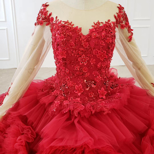 Image 5 - HTL1280 Luxe Shiny Vrouwen Gelegenheid Jurken O hals Lange Mouwen Lace Up Back Red Lace Engagement Jurk Lange Met Lange Trein