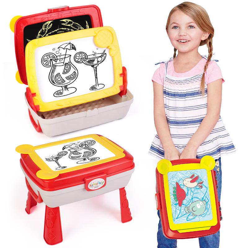 Yi er yi yier CHILDREN'S Drawing Board Ball Pen Wipable Write Multi-functional Folding Doodle Board Kids CHILDREN'S Backpack Toy