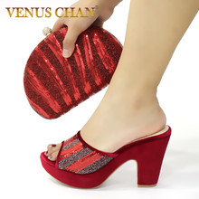Bag Women Shoes Wedding Crystal Shinning Italian And To Match Summer with Red-Color
