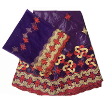 african fabric bazin riche tissu africain cotton embroidered getzner with tulle lace set 5+2 yards/lot