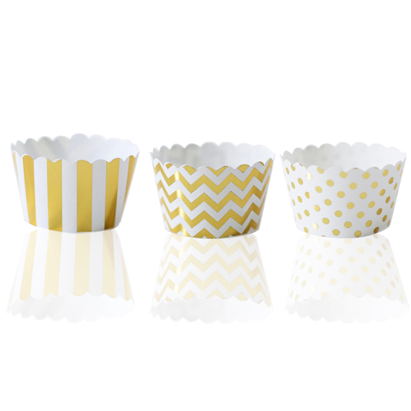 12pcs Foil Gold Cupcake Wrappers Mixed Stripes/Polka Dot/CHevron Cupcake Holders for General Theme Birthday Anniversary Party image