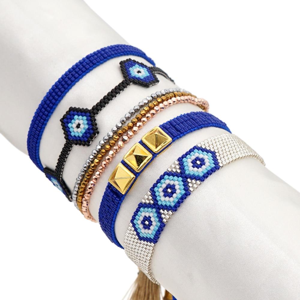 Go2boho Miyuki Bracelet Turkish Evil Eye Bracelets For Women Jewellery Blue Eye Pulseras Jewellery Crystal 2021 Fashion Gift