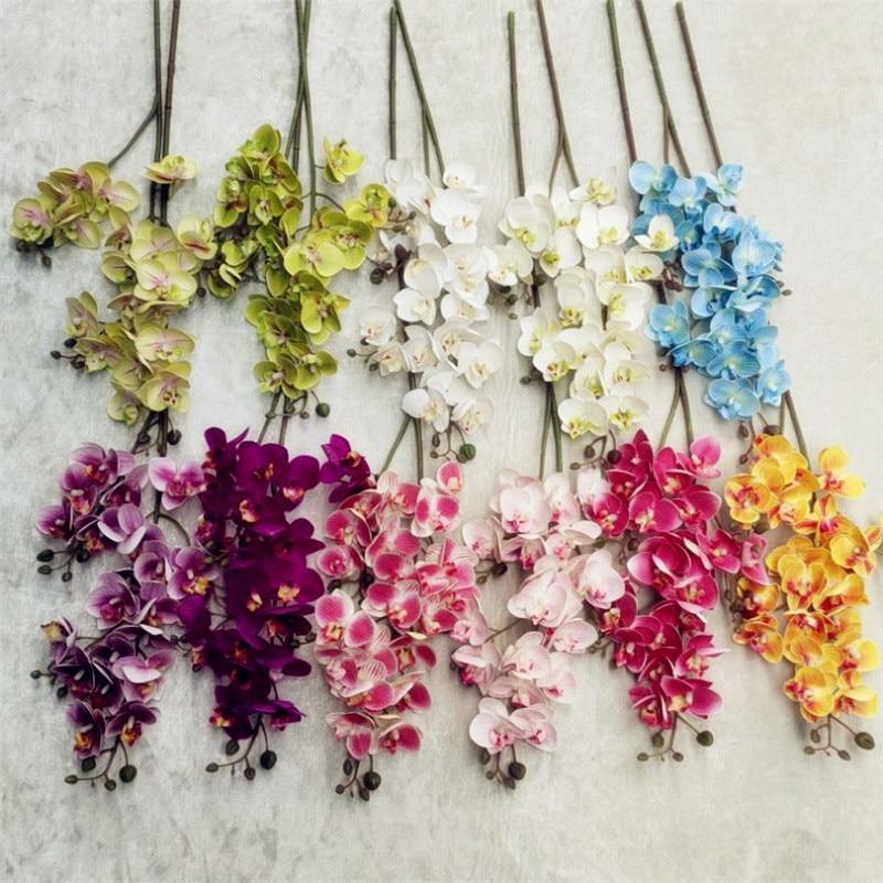 Um látex borboleta orquídea simulação 3d impressão 21 cabeças real toque phalaenopsis orquídeas para casamento flor artificial