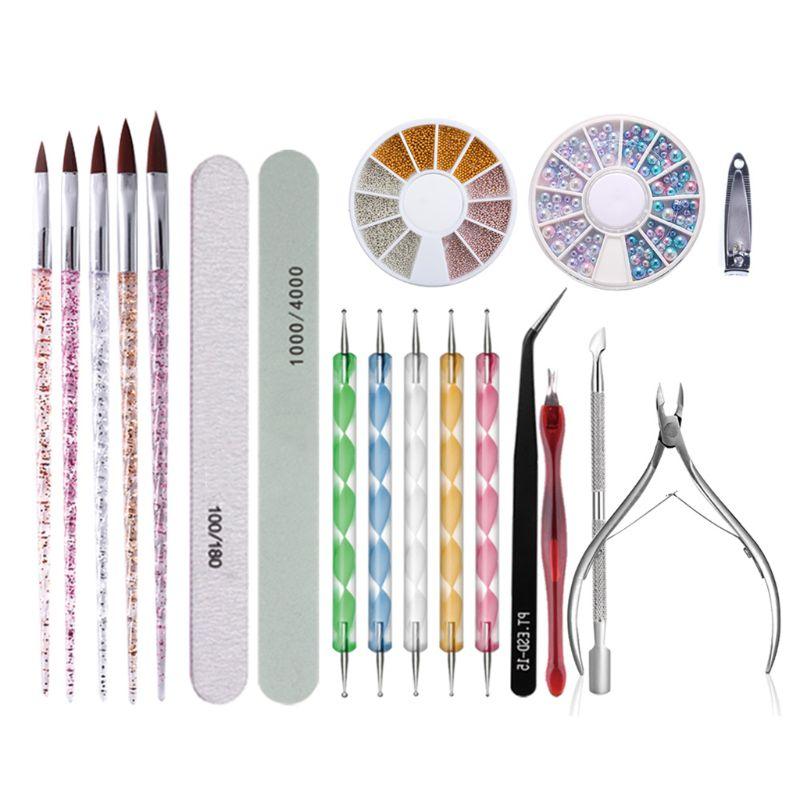 conjunto de manicure cuticula empurrador clippers arte do prego arquivos buffer lixamento ferramenta limpeza escova tesoura