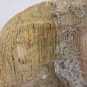 Image 5 - HTL313黄金のウェディングドレス2020でベールvネッククリスタルタッセル王女ブライダルドレスアップリケボールガウン