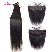 Али Коко 28 30 дюймов прямые человеческие волосы пряди с фронтальной бразильской Remy волосы предварительно сорванные 13x4 13x6 Кружева Фронтальные пряди