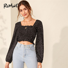 ROMWE Shirred Trim Polka Dot  Blouse Square Neck Long Sleeve Womens Tops and Blouses Fall 2019 Clothing Ladies Sweet Crop Tops revolution fest 2017